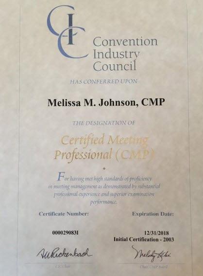CMP Certificate - Missy Johnson